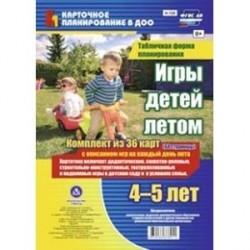 Игры детей летом. 4-5 лет. Табличная форма планирования. Комплект карт