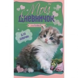 Мой личный дневничок 'Котенок на зелено-розовой обложке'