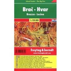 Брач, Хвар.Карта-покет+ Большая Пятерка/Brac, Hvar: Pocket Map