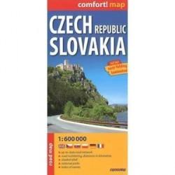 Чехия и Словакия. Ламинированная карта. Czech Republic. Slovakia. 1:600 000