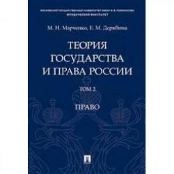 Теория государства и права России. В 2-х томах. Том 2. Право. Учебное пособие