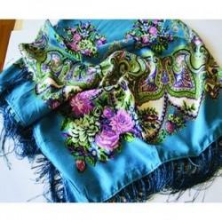 Павловопосадский платок 120х120 см, синий