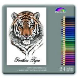 Карандаши 24 цвета 'Тигр', металлическая коробка