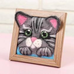 Картина шерстью объёмная 'Котёнок', 10x10 см