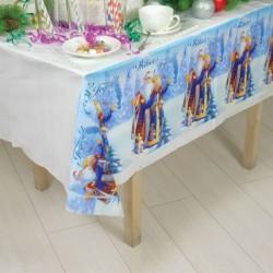 Скатерть 'С Новым годом!'Дед мороз и Снегурочка , 182x137 см
