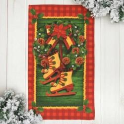 Полотенце 'Новогодний венок' 35x60 см, 100% хлопок, вафельное полотно 162г/м2