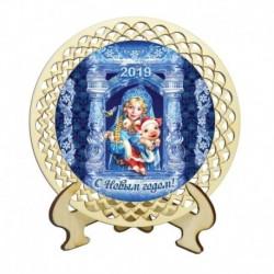 Настольная тарелочка «Хрюша и Снегурочка», диаметр 12 см