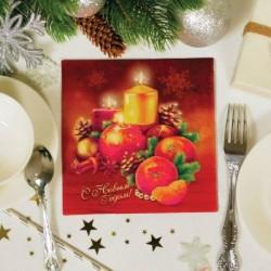 Салфетки бумажные 'С Новым годом! Свечки', 33 х 33 см, набор 20 шт.