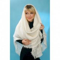 Платок Оренбургский пуховый белый классический, 1.30, 130x130 см