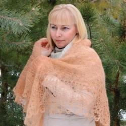 Платок Оренбургский паутинка пуховая бежевая, 130x130 см