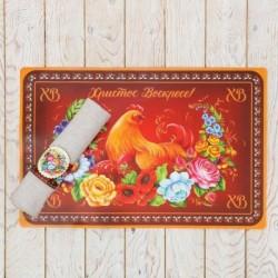 Подставка под горячее «Курочка» с салфетницей, 43 x 28 см