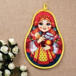 Прихватка «Матрёшка с крынкой», сувенирная, 29x20 см