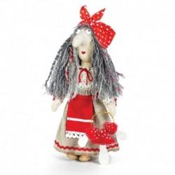 Набор для изготовления игрушки из льна и хлопка с волосами из пряжи 'Баба Яга', 21 см