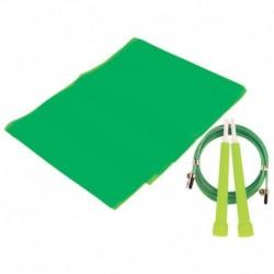 Набор для фитнеса (эспандер ленточный+скакалка скоростная), цвет зеленый