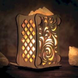 Соляной светильник 'Листья', 9x14 см, деревянный декор