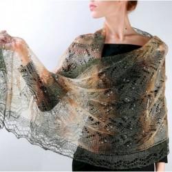 Платок Оренбургский палантин пуховый ажурный, 'Золотая осень', 200x60 см