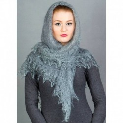 Платок Оренбургский пуховый, серый, 1.30, 130x130 см