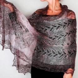 Платок Пуховый платок ручной работы палантин ажурный, (темно-коричневый), 200x60 см