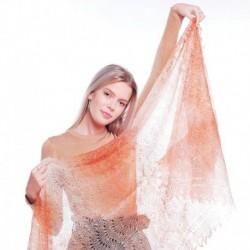 Платок Пуховый платок ручной работы палантин ажурный, бежевый с переливом, 200x60 см