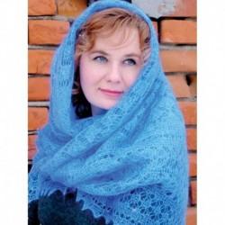 Платок Пуховый платок ручной работы паутинка голубая, 120x120 см