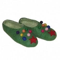 Тапочки зеленые «Новогодние». Размер 40
