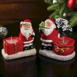 Сувенир керамика подсвечник со свечой 'Дед Мороз с мешком' МИКС 10x6,5x10 см