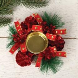 Подсвечник на одну свечу 'Красный' ленточка, шишки 10x4 см