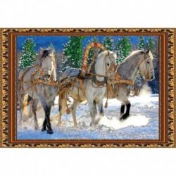 «Светлица» набор для вышивания бисером №127 «Тройка лошадей» бисер Чехия 43,7x29,6см