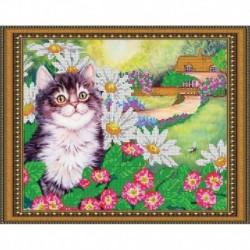 «Светлица» набор для вышивания бисером №333 «Радостный котенок» бисер Чехия 30x24см