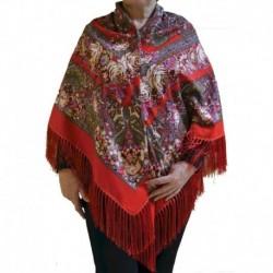 Платок павлопосадский , размер 130х130, красный