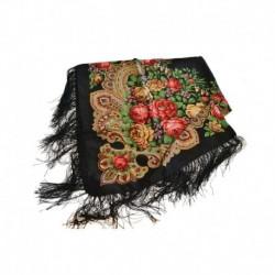 Платок павлопосадский, размер 115х115, черный
