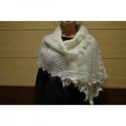 Пуховый шарф белый 50x160 см