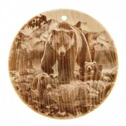 Доска из кедра «Медведь», круглая, 18x18 см