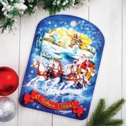 Доска разделочная сувенирная 'С Новым годом. Лошади', 27,5x19,5см