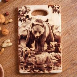 Доска из массива кедра «Медведь», прямоугольная, 18x28 см