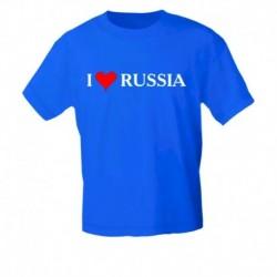 Футболка мужская, синяя . I LOVE RUSSIA. Размер S