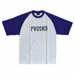Футболка женская РОССИЯ (белая, с синими рукавами) размер M
