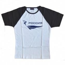 Футболка женская, белая с синими рукавами. РОССИЯ. Размер XL (с головой орла)