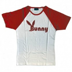 Футболка женская, белая с красными рукавами. Bunny. Размер XL