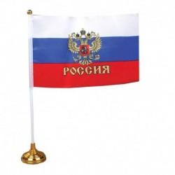 Флаг 14х21 см со штоком на подставке с гербом, полиэстер