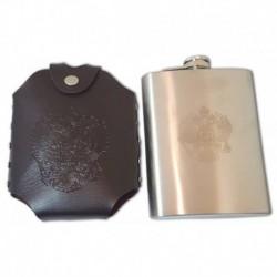 Фляжка металлическая в кожаном чехле с ремешком на плечо. Герб России