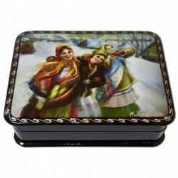 Шкатулка лаковая с элементами ручной росписи три подружки красавицы