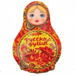 Магнит в форме матрешки 'Русская душа. Хохлома', 7,7x5,4 см