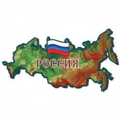 Магнит карта России физическая, флаг России, 11x5 см