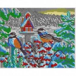 Набор для вышивания бисером К-287 24х19 см. Снегири у домика