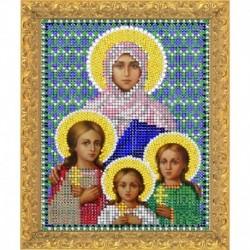 Набор для вышивания бисером 'Святые Вера Надежда Любовь' 12х16см №7337