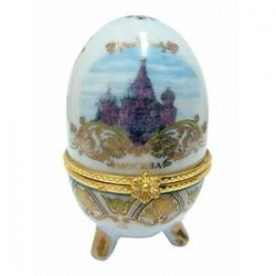 Яйцо пасхальное фарфоровое 'С белым цветком'