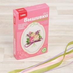Вышивка лентами 'Чайные розы', 12x9 см