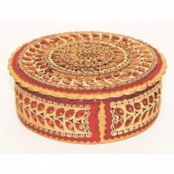 Шкатулка из бересты круглая с красными элементами