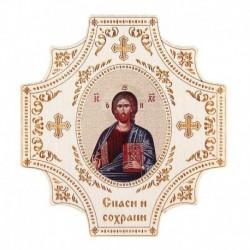 Крестообразная икона в авто 'Иисус Христос' на клеящейся основе